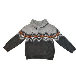 Cherokee Collared Knit Sweater Grey Print 5T